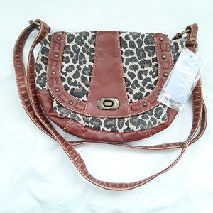 Claire's leopard canvas leather satchel bag